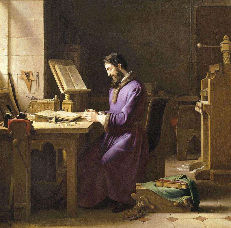 Pintura de Gutenberg en su taller